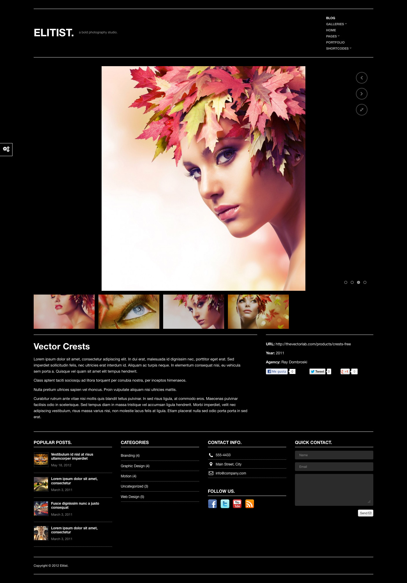 Elitist - Responsive Portfolio WP Theme - Fullscreen, Portfolio Unlimited Color Elements, 30+ Shortcodes, iPhone, iPad, Portfolio and Slider Custom Post Types, AJAX Contact Form, Video Documentation, Sidebar Generator, Responsive, Video, Image
