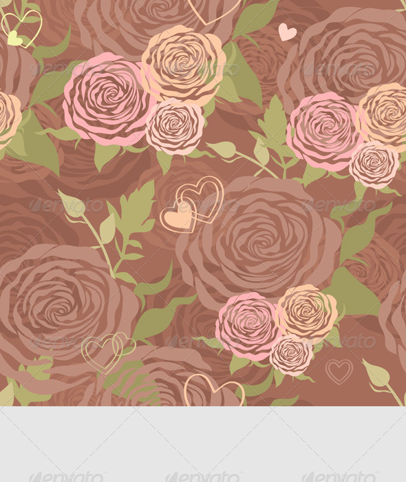 Vector Pastel Floral Seamless Pattern with Roses - Patterns Decorative