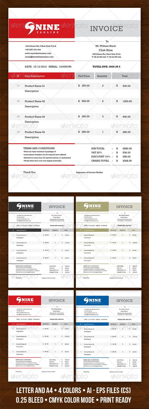 GraphicRiver Invodern Invoice 3687091