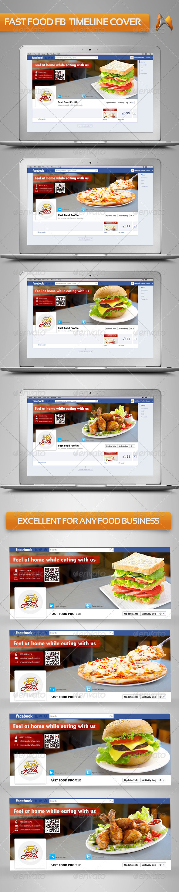 GraphicRiver Multi Fast Food FB Timeline Cover 3688482