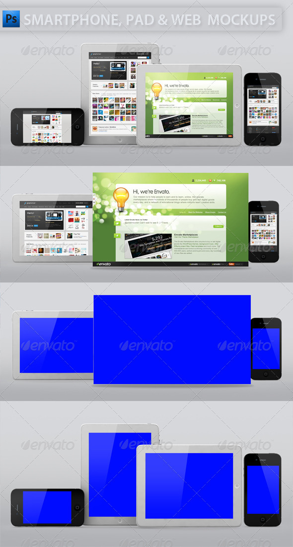 Smartphone and Tablet Web Display Mockup - Multiple Displays