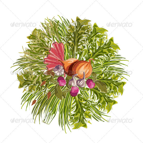 GraphicRiver Vegetables Decorative Circle 3691060