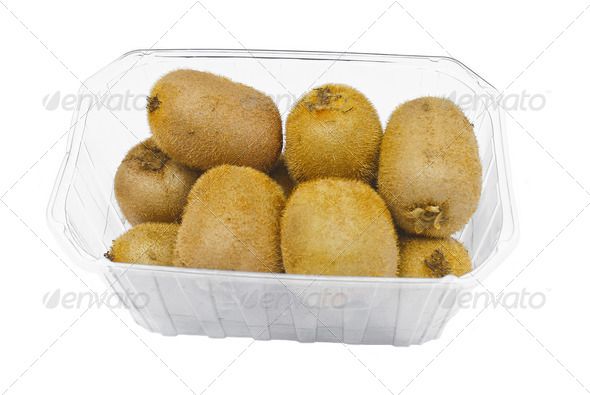 PhotoDune Plastic packaging kiwi on a white background 3693316