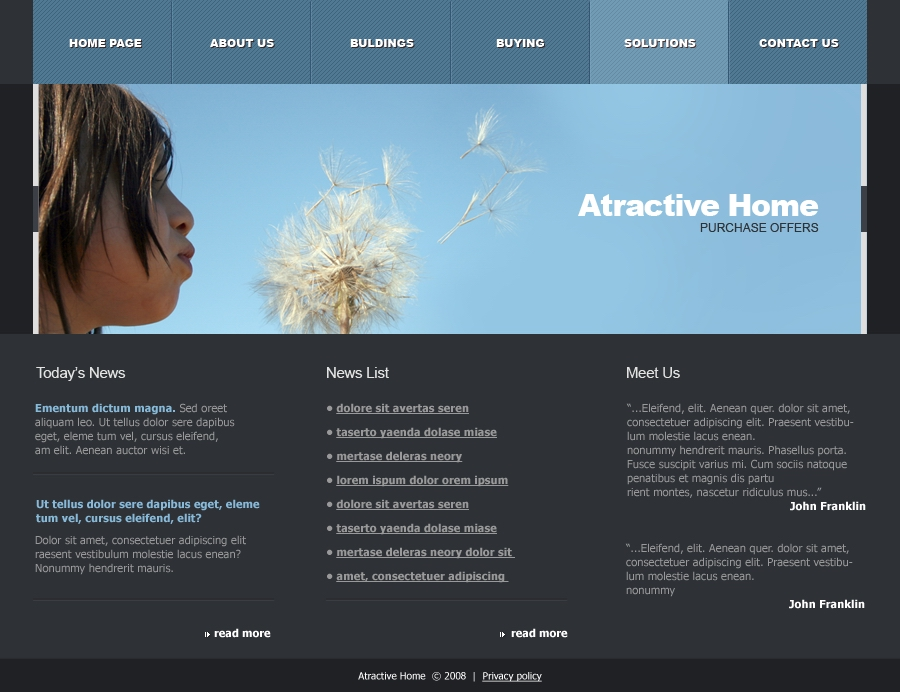 Attractive Home - solutions page