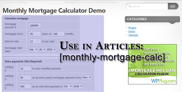 CodeCanyon Mortgage and Loan Calculator Widget Plugin 127569