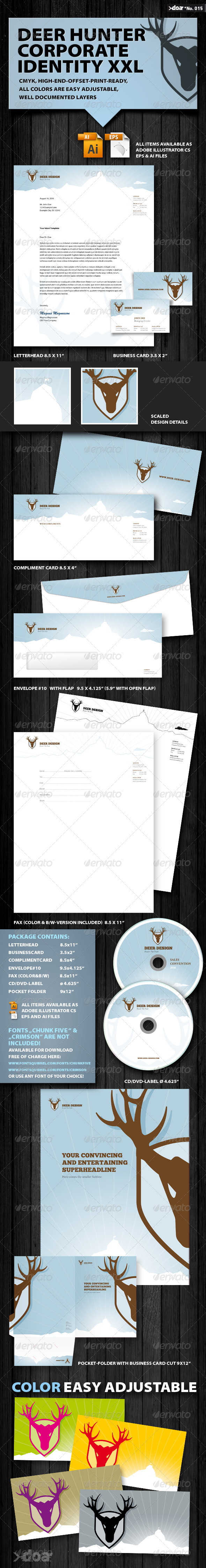 DEER HUNTER Corporate Identity XXL - Stationery Print Templates