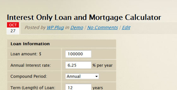 CodeCanyon Interest Only Loan Mortgage Calculator 134419