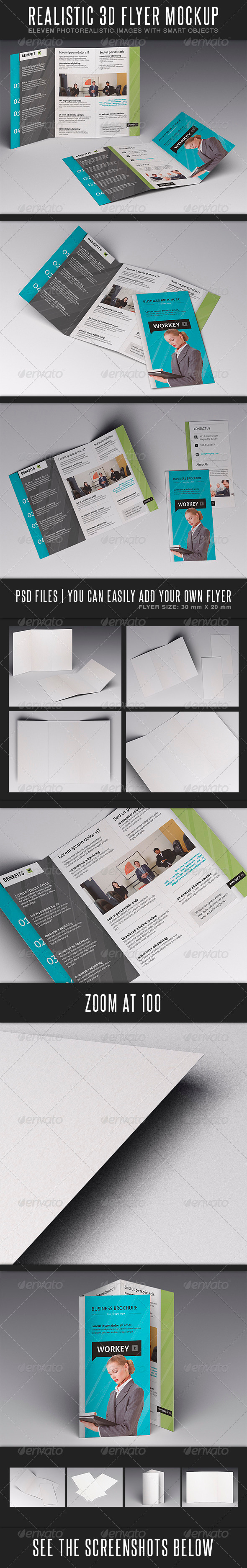 GraphicRiver Realistic Flyer MockUp 3696779