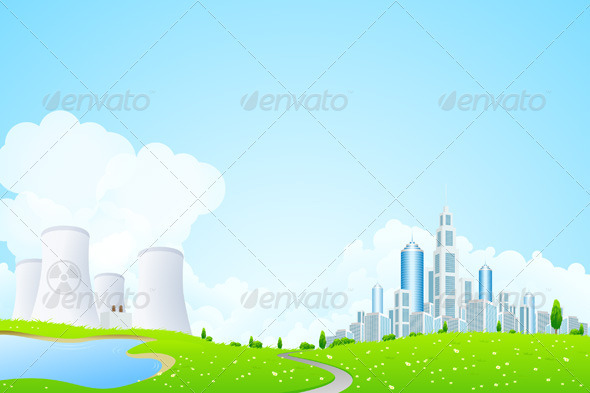 Green Landscape with City Lake and Power Plant - Landscapes Nature