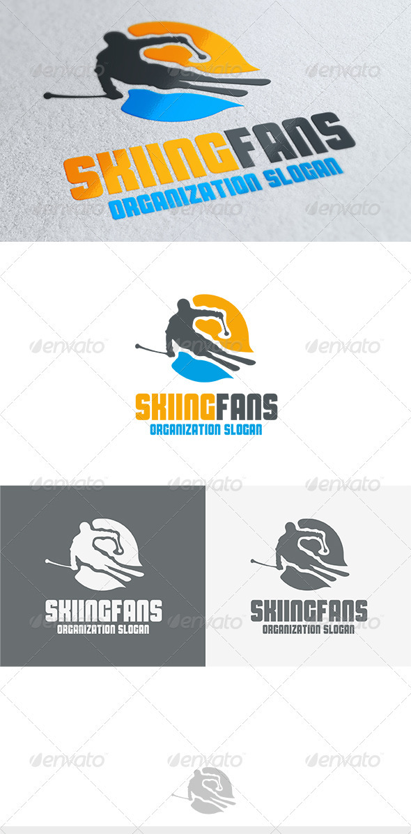 Skiing Fans Logo - Humans Logo Templates