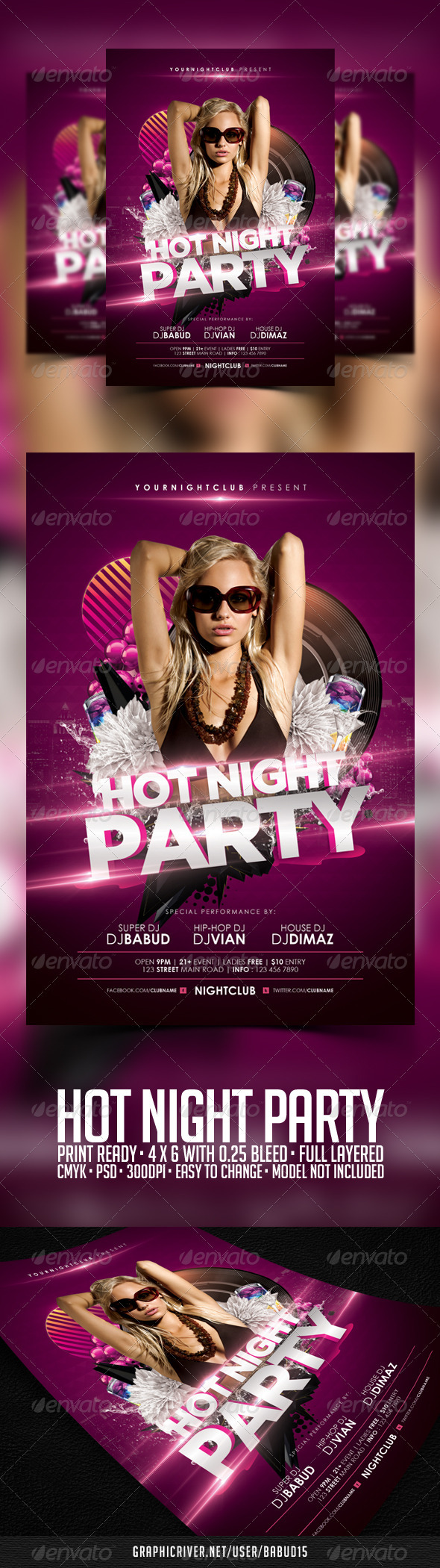 Hot Night Party Flyer Template - Events Flyers
