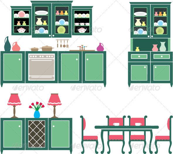 GraphicRiver Set of Kitchen Furniture 3697205