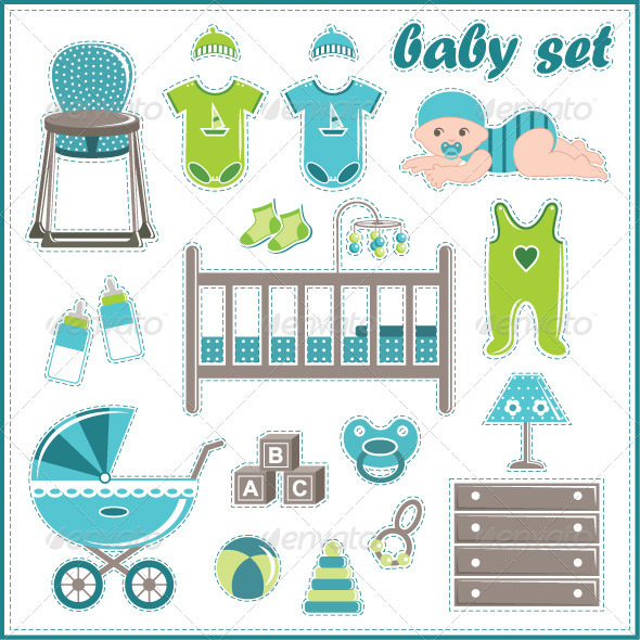 GraphicRiver Scrapbook Elements with Baby Boy Elements 3697208