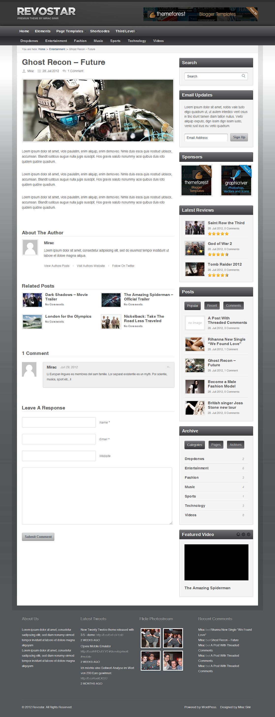 RevoStar - WordPress Magazine/Review Theme