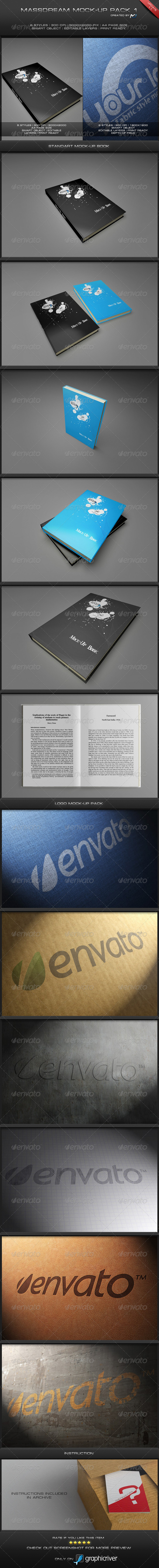 MassDream Mock-Up Pack 1 - Books Print