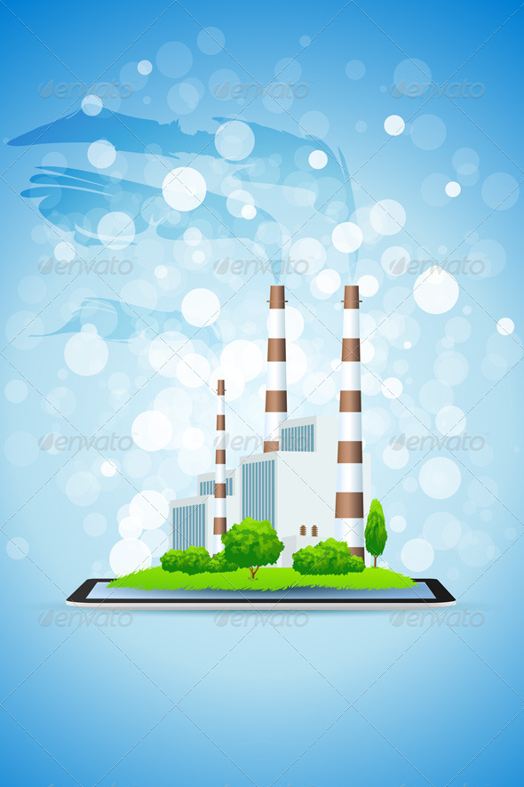 Power Plant on Tablet Computer - Backgrounds Decorative