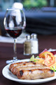 Sausages with salad and wine glass - PhotoDune Item for Sale