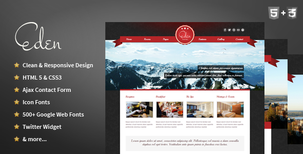 ThemeForest Eden Hotel Responsive HTML Template 3656921