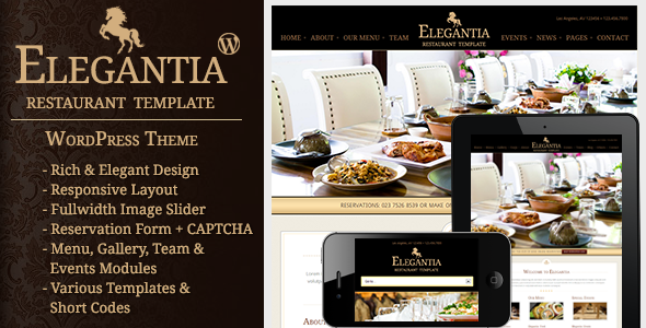 ThemeForest Elegantia Restaurant and Cafe WordPress Theme 3678945