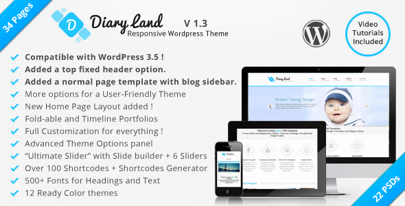ThemeForest DiaryLand Corporate Wordpress Responsive Theme 3521395