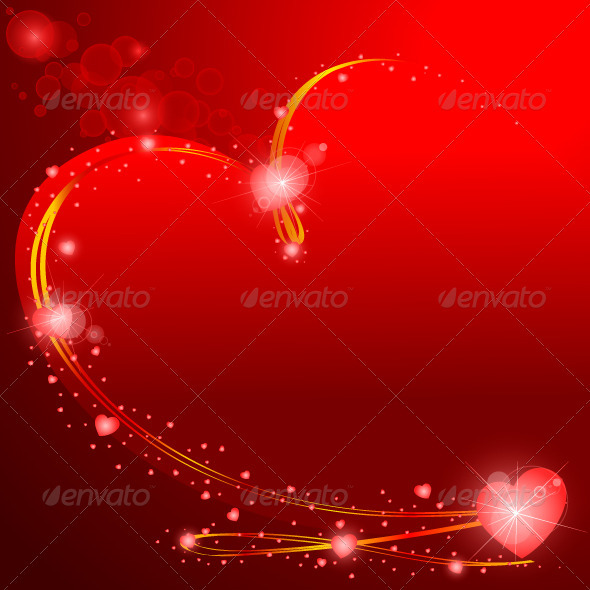 GraphicRiver Valentines Background Glowing Hearts 3702529