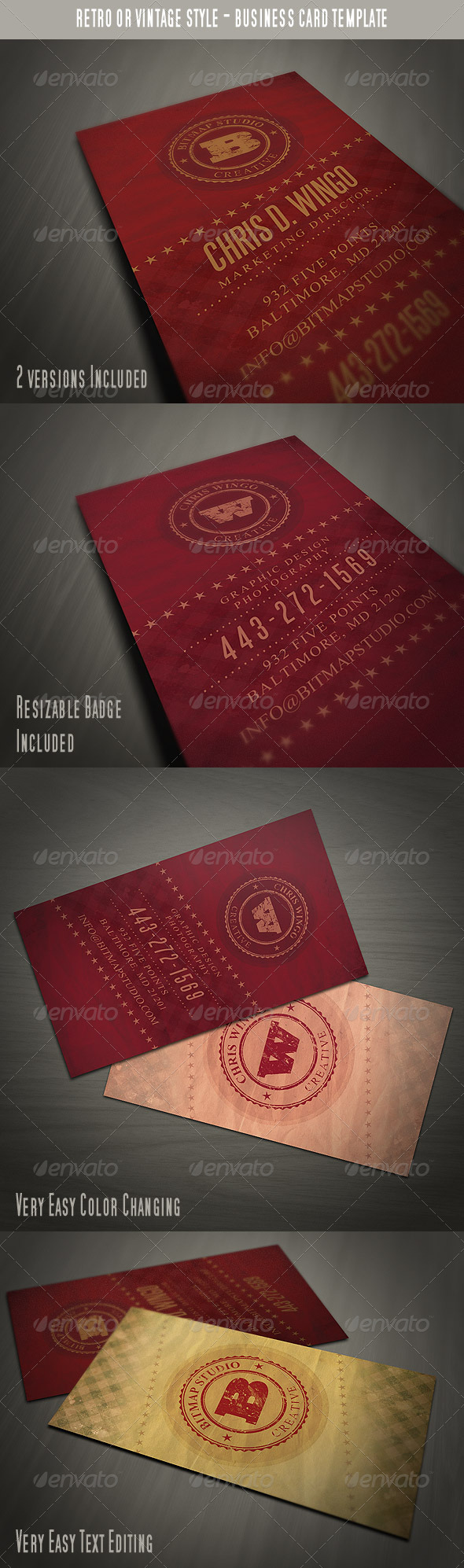 GraphicRiver Vintage Business Card 3702927