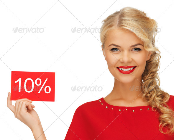 PhotoDune lovely woman in red dress with discount card 3707047