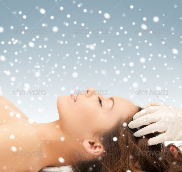 Stock Photography - beautiful woman in massage salon with snow Photodune 3707689