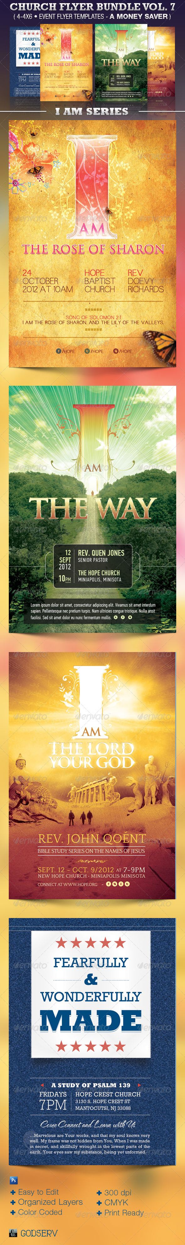 GraphicRiver Church Flyer Template Bundle Vol 7 I Am Series 3703807