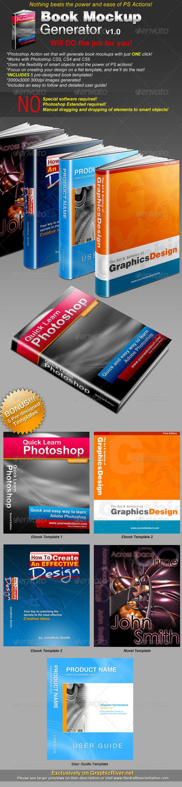 GraphicRiver Book Mockup Generator v1.0 Actions & Templates Set 112751