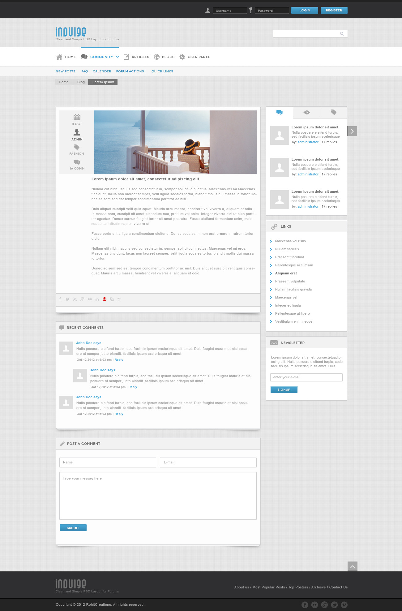 Indulge - Forum and blogs site template