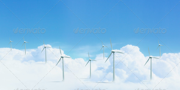 PhotoDune modern white wind turbines 3706050