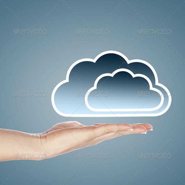 PhotoDune Hand with cloud computing symbol 3706052