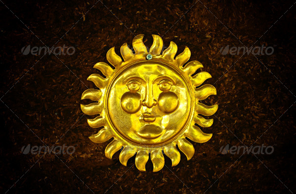 Sun's face decorative art on wall - Stock Photo - Images