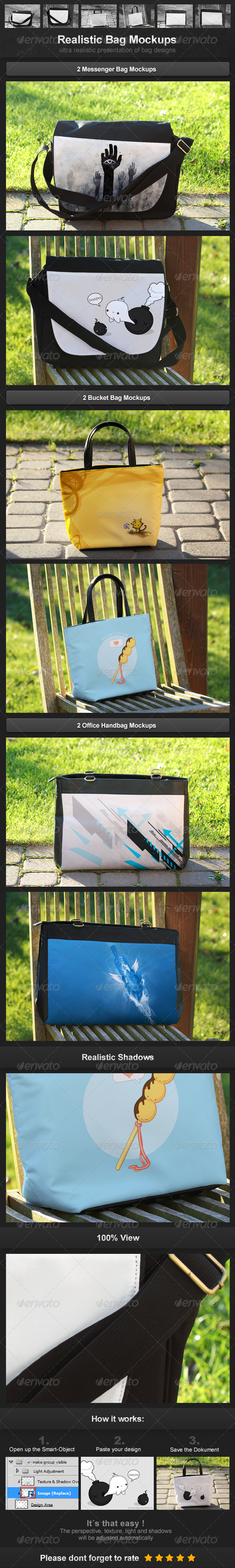 Realistic Bag Mockups - Miscellaneous Packaging