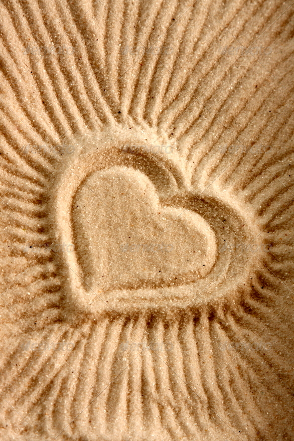 Heart Shape on Sand - Stock Photo - Images