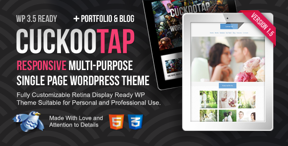 ThemeForest CuckooTap Responsive Single Page WordPress Theme 3512405