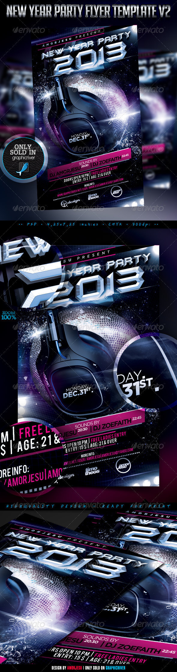 New Year Party Flyer Template V2 - Clubs & Parties Events