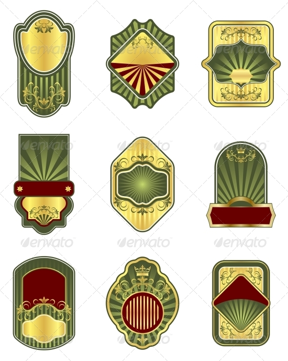 Set of Vintage Golden Labels - Borders Decorative