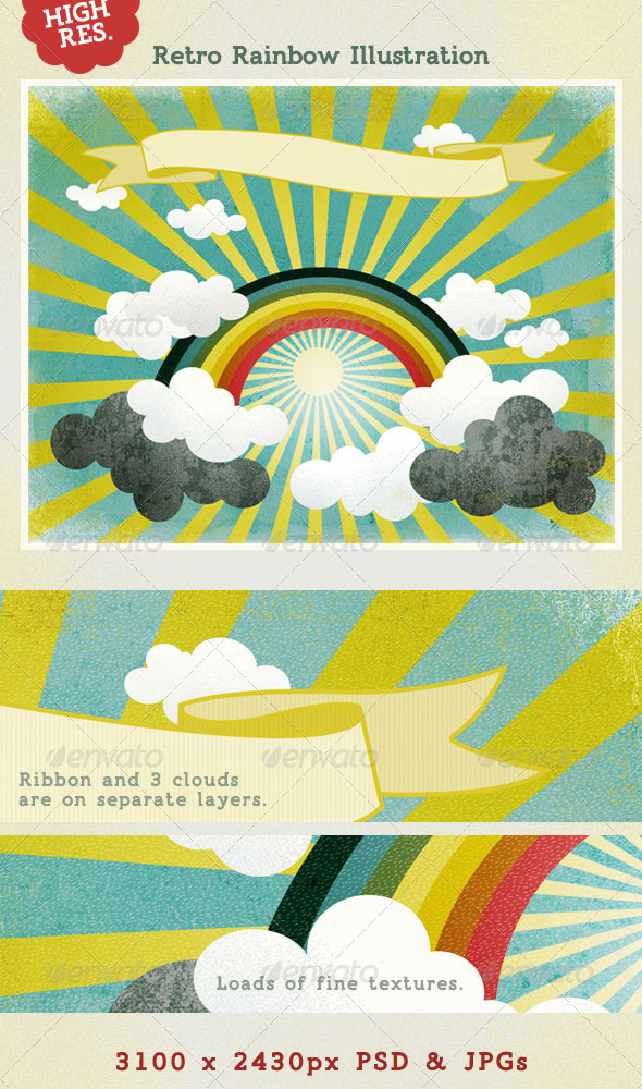 Rainbow with Sunshine & Clouds; Retro Style - Nature Backgrounds