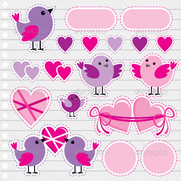 GraphicRiver Scrapbook Elements with Hearts and Birds 3716250