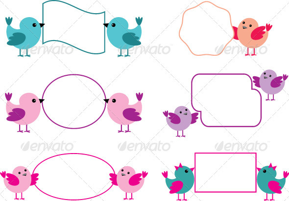 GraphicRiver Little Birds Holding Paper Forms 3716259