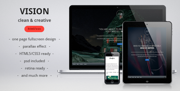 ThemeForest VISION clean creative parallax one page template 3716875
