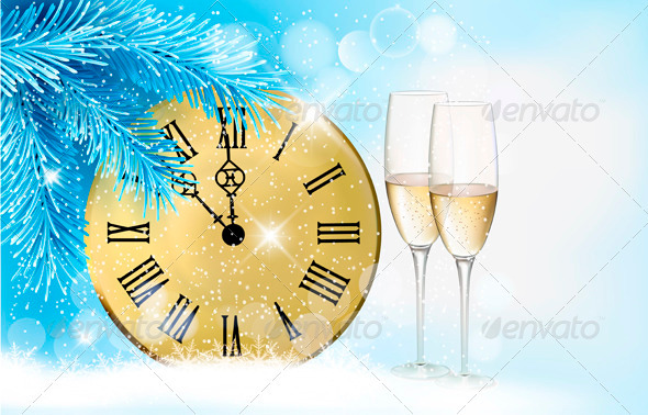 GraphicRiver Holiday Blue Background with Champagne Glasses 3718160