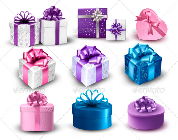 GraphicRiver Set of Colorful Gift Boxes with Bows and Ribbons 3718163