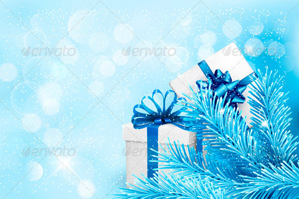 GraphicRiver Holiday Blue Background with Gift Boxes 3718164