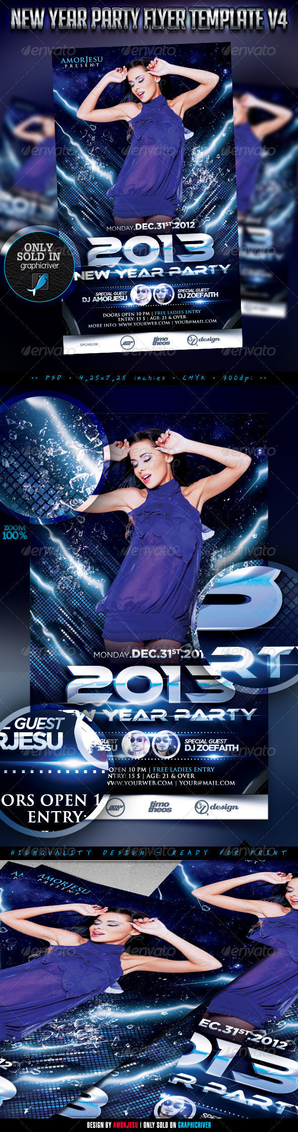 New Year Party Flyer Template V4 - Clubs &amp; Parties Events