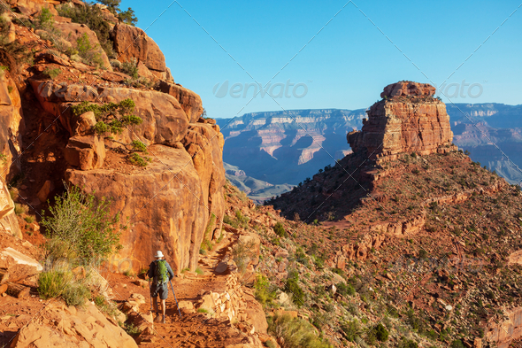 Hike in Grand Canyon - Stock Photo - Images