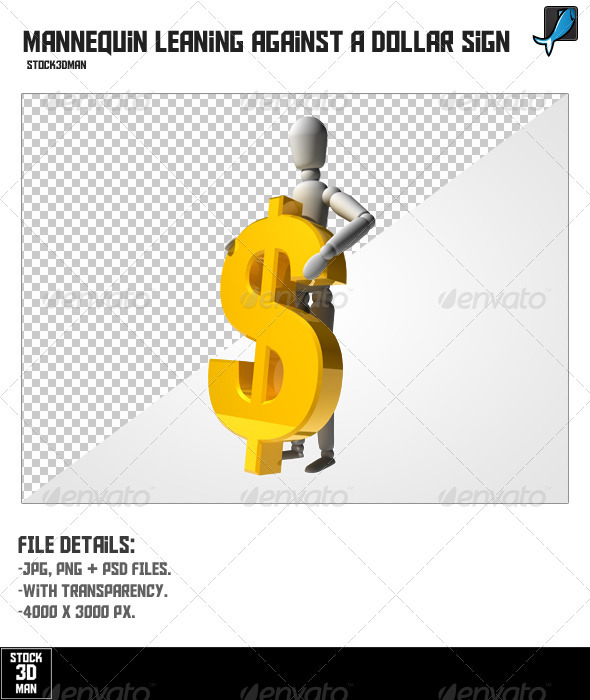 Mannequin Leaning Against a Dollar Sign - Characters 3D Renders