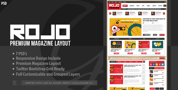 ThemeForest ROJO Magazine News PSD Template 3423554
